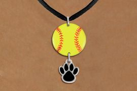 <Br>                  EXCLUSIVELY OURS!!<Br>            AN ALLAN ROBIN DESIGN!!<Br>                 LEAD & NICKEL FREE!! <Br>W21312N - BLACK SUEDE LEATHERETTE <BR>NECKLACE AND YELLOW SOFTBALL PENDANT <BR>WITH CUSTOM COLOR PAW CHARM <BR>        FROM $7.31 TO $16.25 �2014