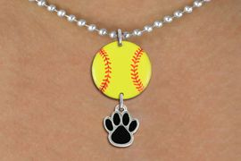 <Br>                  EXCLUSIVELY OURS!!<Br>            AN ALLAN ROBIN DESIGN!!<Br>                 LEAD & NICKEL FREE!! <Br>W21313N - SILVER TONE BALL CHAIN <BR>NECKLACE AND YELLOW SOFTBALL PENDANT <BR>WITH CUSTOM COLOR PAW CHARM <BR>        FROM $7.31 TO $16.25 �2014