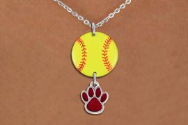 <Br>                  EXCLUSIVELY OURS!!<Br>            AN ALLAN ROBIN DESIGN!!<Br>                 LEAD & NICKEL FREE!! <Br>W21314N - SILVER TONE LOBSTER CLASP <BR>NECKLACE AND YELLOW SOFTBALL PENDANT <BR>WITH CUSTOM COLOR PAW CHARM <BR>        FROM $7.31 TO $16.25 �2014