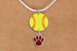 <Br>                  EXCLUSIVELY OURS!!<Br>            AN ALLAN ROBIN DESIGN!!<Br>                 LEAD & NICKEL FREE!! <Br>W21315N - SILVER TONE SNAKE CHAIN <BR>NECKLACE AND YELLOW SOFTBALL PENDANT <BR>WITH CUSTOM COLOR PAW CHARM <BR>        FROM $7.31 TO $16.25 �2014