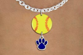 <Br>                  EXCLUSIVELY OURS!!<Br>            AN ALLAN ROBIN DESIGN!!<Br>                 LEAD & NICKEL FREE!! <Br>W21316N - SILVER TONE TOGGLE CHAIN <BR>NECKLACE AND YELLOW SOFTBALL PENDANT <BR>WITH CUSTOM COLOR PAW CHARM <BR>        FROM $7.31 TO $16.25 �2014
