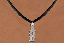 <bR>      WHOLESALE FASHION SORORITY JEWELRY  <BR>                     EXCLUSIVELY OURS!!  <BR>                AN ALLAN ROBIN DESIGN!!  <BR>          LEAD, NICKEL & CADMIUM FREE!!  <BR>W21317N - OFFICIAL SILVER TONE CUSTOM  <BR>   GREEK LETTER SORORITY CHARM ON BLACK <Br>SUEDE NECKLACE FROM $5.90 TO $9.35 �2014