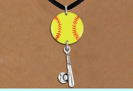 <Br>                  EXCLUSIVELY OURS!!<Br>            AN ALLAN ROBIN DESIGN!!<Br>                 LEAD & NICKEL FREE!! <Br>W21317N - BLACK SUEDE LEATHERETTE <BR>NECKLACE AND YELLOW SOFTBALL PENDANT <BR>WITH SOFTBALL BALL AND BAT CHARM <BR>        FROM $7.31 TO $16.25 �2014