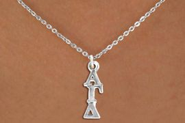 <bR>      WHOLESALE FASHION SORORITY JEWELRY  <BR>                     EXCLUSIVELY OURS!!  <BR>                AN ALLAN ROBIN DESIGN!!  <BR>          LEAD, NICKEL & CADMIUM FREE!!  <BR>W21318N - OFFICIAL SILVER TONE CUSTOM  <BR>   GREEK LETTER SORORITY CHARM ON SMALL <Br>CHAIN NECKLACE FROM $5.90 TO $9.35 �2014