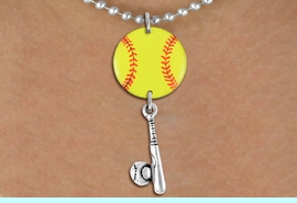 <Br>                  EXCLUSIVELY OURS!!<Br>            AN ALLAN ROBIN DESIGN!!<Br>                 LEAD & NICKEL FREE!! <Br>W21318N - SILVER TONE BALL CHAIN <BR>NECKLACE AND YELLOW SOFTBALL PENDANT <BR>WITH SOFTBALL BALL AND BAT CHARM <BR>        FROM $7.31 TO $16.25 �2014