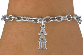 <bR>      WHOLESALE FASHION SORORITY JEWELRY  <BR>                     EXCLUSIVELY OURS!!  <BR>                AN ALLAN ROBIN DESIGN!!  <BR>          LEAD, NICKEL & CADMIUM FREE!!  <BR>W21320B - OFFICIAL SILVER TONE CUSTOM  <BR>GREEK LETTER SORORITY CHARM ON TOGGLE <Br>CLASP BRACELET FROM $5.50 TO $9.35 �2014
