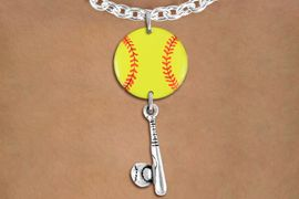 <Br>                  EXCLUSIVELY OURS!!<Br>            AN ALLAN ROBIN DESIGN!!<Br>                 LEAD & NICKEL FREE!! <Br>W21321N - SILVER TONE TOGGLE CHAIN <BR>NECKLACE AND YELLOW SOFTBALL PENDANT <BR>WITH SOFTBALL BALL AND BAT CHARM <BR>        FROM $7.31 TO $16.25 �2014