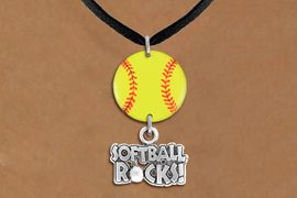 """<Br>                  EXCLUSIVELY OURS!!<Br>            AN ALLAN ROBIN DESIGN!!<Br>                 LEAD & NICKEL FREE!! <Br>W21322N - BLACK SUEDE LEATHERETTE <BR>NECKLACE AND YELLOW SOFTBALL PENDANT <BR>WITH SILVER TONE """"SOFTBALL ROCKS!"""" CHARM <BR>        FROM $7.31 TO $16.25 �2014"""