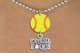 """<Br>                  EXCLUSIVELY OURS!!<Br>            AN ALLAN ROBIN DESIGN!!<Br>                 LEAD & NICKEL FREE!! <Br>W21323N - SILVER TONE BALL CHAIN <BR>NECKLACE AND YELLOW SOFTBALL PENDANT <BR>WITH SILVER TONE """"SOFTBALL ROCKS!"""" CHARM <BR>        FROM $7.31 TO $16.25 �2014"""