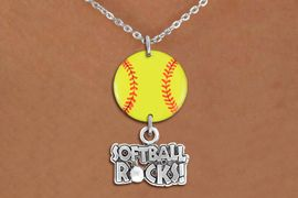 """<Br>                  EXCLUSIVELY OURS!!<Br>            AN ALLAN ROBIN DESIGN!!<Br>                 LEAD & NICKEL FREE!! <Br>W21324N - SILVER TONE LOBSTER CLASP <BR>NECKLACE AND YELLOW SOFTBALL PENDANT <BR>WITH SILVER TONE """"SOFTBALL ROCKS!"""" CHARM <BR>        FROM $7.31 TO $16.25 �2014"""