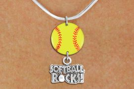 """<Br>                  EXCLUSIVELY OURS!!<Br>            AN ALLAN ROBIN DESIGN!!<Br>                 LEAD & NICKEL FREE!! <Br>W21325N - SILVER TONE SNAKE CHAIN <BR>NECKLACE AND YELLOW SOFTBALL PENDANT <BR>WITH SILVER TONE """"SOFTBALL ROCKS!"""" CHARM <BR>        FROM $7.31 TO $16.25 �2014"""
