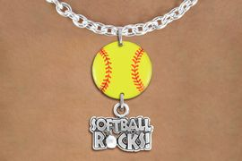 """<Br>                  EXCLUSIVELY OURS!!<Br>            AN ALLAN ROBIN DESIGN!!<Br>                 LEAD & NICKEL FREE!! <Br>W21326N - SILVER TONE TOGGLE CHAIN <BR>NECKLACE AND YELLOW SOFTBALL PENDANT <BR>WITH SILVER TONE """"SOFTBALL ROCKS!"""" CHARM <BR>        FROM $7.31 TO $16.25 �2014"""
