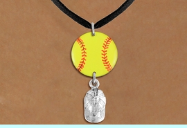<Br>                  EXCLUSIVELY OURS!!<Br>            AN ALLAN ROBIN DESIGN!!<Br>                 LEAD & NICKEL FREE!! <Br>W21327N - BLACK SUEDE LEATHERETTE <BR>NECKLACE AND YELLOW SOFTBALL PENDANT <BR>WITH SILVER TONE SOFTBALL CAP CHARM <BR>        FROM $7.31 TO $16.25 �2014