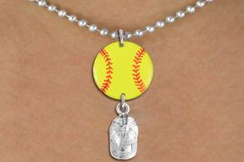 <Br>                  EXCLUSIVELY OURS!!<Br>            AN ALLAN ROBIN DESIGN!!<Br>                 LEAD & NICKEL FREE!! <Br>W21328N - SILVER TONE BALL CHAIN <BR>NECKLACE AND YELLOW SOFTBALL PENDANT <BR>WITH SILVER TONE SOFTBALL CAP CHARM <BR>        FROM $7.31 TO $16.25 �2014