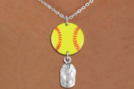 <Br>                  EXCLUSIVELY OURS!!<Br>            AN ALLAN ROBIN DESIGN!!<Br>                 LEAD & NICKEL FREE!! <Br>W21329N - SILVER TONE LOBSTER CLASP <BR>NECKLACE AND YELLOW SOFTBALL PENDANT <BR>WITH SILVER TONE SOFTBALL CAP CHARM <BR>        FROM $7.31 TO $16.25 �2014