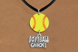 """<Br>                  EXCLUSIVELY OURS!!<Br>            AN ALLAN ROBIN DESIGN!!<Br>                 LEAD & NICKEL FREE!! <Br>W21332N - BLACK SUEDE LEATHERETTE <BR>NECKLACE AND YELLOW SOFTBALL PENDANT <BR>WITH SILVER TONE """"SOFTBALL CHICK!"""" CHARM <BR>        FROM $7.31 TO $16.25 �2014"""