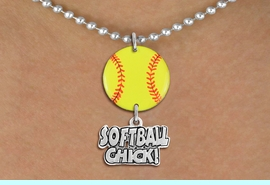 """<Br>                  EXCLUSIVELY OURS!!<Br>            AN ALLAN ROBIN DESIGN!!<Br>                 LEAD & NICKEL FREE!! <Br>W21333N - SILVER TONE BALL CHAIN <BR>NECKLACE AND YELLOW SOFTBALL PENDANT <BR>WITH SILVER TONE """"SOFTBALL CHICK!"""" CHARM <BR>        FROM $7.31 TO $16.25 �2014"""
