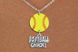"""<Br>                  EXCLUSIVELY OURS!!<Br>            AN ALLAN ROBIN DESIGN!!<Br>                 LEAD & NICKEL FREE!! <Br>W21334N - SILVER TONE LOBSTER CLASP <BR>NECKLACE AND YELLOW SOFTBALL PENDANT <BR>WITH SILVER TONE """"SOFTBALL CHICK!"""" CHARM <BR>        FROM $7.31 TO $16.25 �2014"""