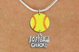 """<Br>                  EXCLUSIVELY OURS!!<Br>            AN ALLAN ROBIN DESIGN!!<Br>                 LEAD & NICKEL FREE!! <Br>W21335N - SILVER TONE SNAKE CHAIN <BR>NECKLACE AND YELLOW SOFTBALL PENDANT <BR>WITH SILVER TONE """"SOFTBALL CHICK!"""" CHARM <BR>        FROM $7.31 TO $16.25 �2014"""