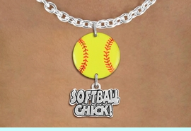 """<Br>                  EXCLUSIVELY OURS!!<Br>            AN ALLAN ROBIN DESIGN!!<Br>                 LEAD & NICKEL FREE!! <Br>W21336N - SILVER TONE TOGGLE CHAIN <BR>NECKLACE AND YELLOW SOFTBALL PENDANT <BR>WITH SILVER TONE """"SOFTBALL CHICK!"""" CHARM <BR>        FROM $7.31 TO $16.25 �2014"""