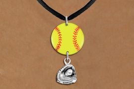 <Br>                  EXCLUSIVELY OURS!!<Br>            AN ALLAN ROBIN DESIGN!!<Br>                 LEAD & NICKEL FREE!! <Br>W21337N - BLACK SUEDE LEATHERETTE <BR>NECKLACE AND YELLOW SOFTBALL PENDANT WITH <BR>SILVER TONE SOFTBALL BALL IN GLOVE CHARM <BR>        FROM $7.31 TO $16.25 �2014