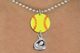 <Br>                  EXCLUSIVELY OURS!!<Br>            AN ALLAN ROBIN DESIGN!!<Br>                 LEAD & NICKEL FREE!! <Br>W21338N - SILVER TONE BALL CHAIN <BR>NECKLACE AND YELLOW SOFTBALL PENDANT WITH <BR>SILVER TONE SOFTBALL BALL IN GLOVE CHARM <BR>        FROM $7.31 TO $16.25 �2014