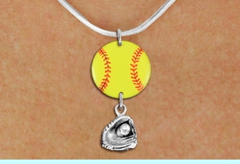 <Br>                  EXCLUSIVELY OURS!!<Br>            AN ALLAN ROBIN DESIGN!!<Br>                 LEAD & NICKEL FREE!! <Br>W21340N - SILVER TONE SNAKE CHAIN <BR>NECKLACE AND YELLOW SOFTBALL PENDANT WITH <BR>SILVER TONE SOFTBALL BALL IN GLOVE CHARM <BR>        FROM $7.31 TO $16.25 �2014