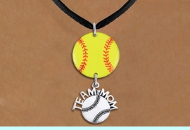 """<Br>                  EXCLUSIVELY OURS!!<Br>            AN ALLAN ROBIN DESIGN!!<Br>                 LEAD & NICKEL FREE!! <Br>W21347N - BLACK SUEDE LEATHERETTE <BR>NECKLACE AND YELLOW SOFTBALL PENDANT <BR>WITH SILVER TONE """"TEAM MOM"""" SOFTBALL CHARM <BR>        FROM $7.31 TO $16.25 �2014"""