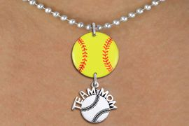 """<Br>                  EXCLUSIVELY OURS!!<Br>            AN ALLAN ROBIN DESIGN!!<Br>                 LEAD & NICKEL FREE!! <Br>W21348N - SILVER TONE BALL CHAIN <BR>NECKLACE AND YELLOW SOFTBALL PENDANT <BR>WITH SILVER TONE """"TEAM MOM"""" SOFTBALL CHARM <BR>        FROM $7.31 TO $16.25 �2014"""