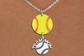 """<Br>                  EXCLUSIVELY OURS!!<Br>            AN ALLAN ROBIN DESIGN!!<Br>                 LEAD & NICKEL FREE!! <Br>W21349N - SILVER TONE LOBSTER CLASP <BR>NECKLACE AND YELLOW SOFTBALL PENDANT <BR>WITH SILVER TONE """"TEAM MOM"""" SOFTBALL CHARM <BR>        FROM $7.31 TO $16.25 �2014"""