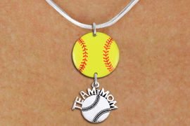 """<Br>                  EXCLUSIVELY OURS!!<Br>            AN ALLAN ROBIN DESIGN!!<Br>                 LEAD & NICKEL FREE!! <Br>W21350N - SILVER TONE SNAKE CHAIN <BR>NECKLACE AND YELLOW SOFTBALL PENDANT <BR>WITH SILVER TONE """"TEAM MOM"""" SOFTBALL CHARM <BR>        FROM $7.31 TO $16.25 �2014"""