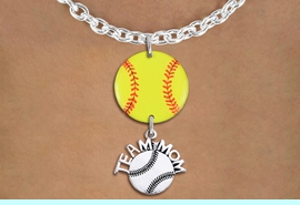 """<Br>                  EXCLUSIVELY OURS!!<Br>            AN ALLAN ROBIN DESIGN!!<Br>                 LEAD & NICKEL FREE!! <Br>W21351N - SILVER TONE TOGGLE CLASP <BR>NECKLACE AND YELLOW SOFTBALL PENDANT <BR>WITH SILVER TONE """"TEAM MOM"""" SOFTBALL CHARM <BR>        FROM $7.31 TO $16.25 �2014"""