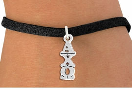 <BR>          CLICK ON PICTURE, SCROLL DOWN<BR>   TO SELECT YOUR SORORITIES GREEK LETTERS<bR>      WHOLESALE FASHION SORORITY JEWELRY  <BR>                     EXCLUSIVELY OURS!!  <BR>                AN ALLAN ROBIN DESIGN!!  <BR>          LEAD, NICKEL & CADMIUM FREE!!  <BR>     W21357B - OFFICIAL SILVER TONE CUSTOM  <BR> GREEK LETTER SORORITY CHARM ON  BLACK SUEDE <Br>CLASP BRACELET FROM $5.90 TO $9.25 �2014