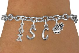 <br>                 W21368B  NEW SORORITY CHARM BRACELET <br>             PERSONALIZED IT WITH YOUR DISTINCT INITIALS     <br>     OR YOUR BIG SISTERS, LITTLE SISTERS, OR AN ALUMS<br>      NAME. ADD YOUR SORORITIES GREEK LETTERS, YOUR<br>SORORITIES MASCOT.  LEAD, NICKLE, AND  CADMIUM FREE<BR>             EXCLUSIVELY OURS, AN ALLAN ROBIN DESIGN. <BR>                               W21368B  ONLY $12.37   �2014