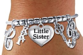 <br>               FABULOUS NEW SORORITY CHARM BRACELET. <br>             PERSONALIZED IT WITH YOUR CRYSTAL INITIALS     <br>     OR YOUR BIG SISTERS, LITTLE SISTERS, OR AN ALUMS<br>      NAME. ADD YOUR SORORITIES GREEK LETTERS, YOUR<br> SORORITIES MASCOT, THE HEART CHARM THAT YOU WANT. <br>   LEAD, NICKLE, AND  CADMIUM FREE, EXCLUSIVELY OURS,<br> AN ALLAN ROBIN DESIGN.  W21369B  ONLY $24.68   �2014