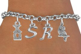 <br>                 W21371B  NEW SORORITY CHARM BRACELET <br>             PERSONALIZED IT WITH YOUR DISTINCT INITIALS     <br>     OR YOUR BIG SISTERS, LITTLE SISTERS, OR AN ALUMS<br>      NAME. ADD YOUR SORORITIES GREEK LETTERS, YOUR<br>SORORITIES MASCOT.  LEAD, NICKLE, AND  CADMIUM FREE<BR>             EXCLUSIVELY OURS, AN ALLAN ROBIN DESIGN. <BR>                               W21371B  ONLY $12.37   �2014
