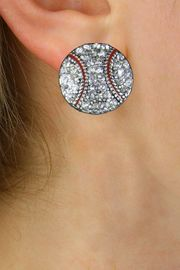 NEW PETITE CRYSTAL 3 DIMENSIONAL AGAINST<BR>             THE EAR, POST BASEBALL EARRINGS<BR>                 W21377E FROM $6.75 TO $12.50