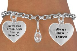 """<BR>              GENUINE """" CRYSTAL TENNIS RACKET WITH CRYSTAL BALL """"<BR>                             ADJUSTABLE CHARM BRACELET WHOLESALE <bR>                 W21435B - THE NEW WAY TO EXPRESS LOVE, MOTIVATION,<BR>          POSITIVE, AFFIRMATIVE EXPRESSIONS, THAT WILL GO PERFECTLY<br>        WITH ANOTHER POSITIVE AFFIRMATION CHARM IF YOU WANT  ONE,<BR>   MORE CHOICES LOOK BELOW,  CHARM BRACELET FROM $9.73 TO $14.58<BR>                                    CostumeJewelryWholesale.com �2014"""