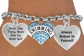 <BR>                                           SWIMMING BRACELET & GENUINE CRYSTAL HEART CHARM <bR>                                         W21456B2 - THE NEW WAY TO EXPRESS LOVE, MOTIVATION,<BR>                    POSITIVE, AFFIRMATIVE EXPRESSIONS,  CHARM BRACELET  $11.68 EACH �2014