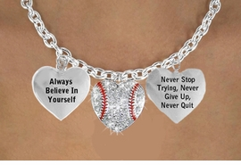 "<BR> BEAUTIFUL  "" CRYSTAL SOFTBALL HEART "" CHARM NECKLACE WHOLESALE <bR>                 W21484N - THE NEW WAY TO EXPRESS LOVE, MOTIVATION,<BR>          POSITIVE, AFFIRMATIVE EXPRESSIONS, THAT WILL GO PERFECTLY<br>        WITH ANOTHER POSITIVE AFFIRMATION CHARM IF YOU WANT  ONE,<BR>   MORE CHOICES LOOK BELOW,  CHARM NECKLACE FROM $9.73 TO $14.58<BR>                                    CostumeJewelryWholesale.com �2014"