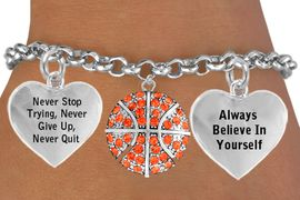 """<BR>                                 GENUINE ORANGE CRYSTAL """" BASKETBALL """" <BR>                                 ADJUSTABLE CHARM BRACELET WHOLESALE <bR>                 W21493B - THE NEW WAY TO EXPRESS LOVE, MOTIVATION,<BR>          POSITIVE, AFFIRMATIVE EXPRESSIONS, THAT WILL GO PERFECTLY<br>        WITH ANOTHER POSITIVE AFFIRMATION CHARM IF YOU WANT  ONE,<BR>   MORE CHOICES LOOK BELOW,  CHARM BRACELET FROM $9.73 TO $14.58<BR>                                    CostumeJewelryWholesale.com �2014"""