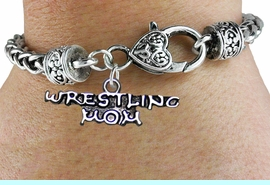 <BR>              WRESTLING MOM ANTIQUE CHAIN BRACELET<BR>                  AN ORIGINAL ALLAN ROBIN CUSTOM DESIGN<br>                                WHOLESALE CHARM BRACELET <BR>                              LEAD, CADMIUM & NICKEL FREE!!  <BR>    W21528B-HIGH POLISHED, BRIGHT ANTIQUE SILVER TONE  <BR>            FITS ALL SIZES FROM $4.50 TO $8.35 EACH! &#169;2014