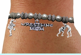 <BR>                          WRESTLING MOM BRACELET<BR>     NEW HAND MADE STRETCH BRACELET THAT CAN <br>                 HOLD UP TO 13 DIFFERENT CHARMS<BR>         AN ORIGINAL ALLAN ROBIN CUSTOM DESIGN<br>                       WHOLESALE CHARM BRACELET <BR>                     LEAD, CADMIUM & NICKEL FREE!!  <BR>W21538B-HIGH POLISHED, BRIGHT ANTIQUE SILVER TONE  <BR>      FITS ALL SIZES, FROM $13.75 TO $18.75 EACH! &#169;2014