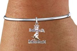"""<BR>               """" If I Believe It, I Can Do It! """" ICE SKATING ADJUSTABLE SCREW BALL BRACELET<BR>                                           AN ORIGINAL ALLAN ROBIN CUSTOM DESIGN<br>                                                         WHOLESALE CHARM BRACELET <BR>                                                       LEAD, CADMIUM & NICKEL FREE!!  <BR>W21546B-HIGH POLISHED, BRIGHT ADJUSTABLE SCREW BALL SILVER TONE  BRACELET<BR>""""NO TOOLS NEEDED TO ADD ADDITIONAL CHARMS"""" FROM $4.50 TO $8.35 EACH! &#169;2015"""