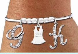 <BR>                     NEW! TENNIS BRACELET WITH CRYSTAL INITIALS, & TENNIS DRESS<BR>                              ADJUSTABLE REMOVABLE SCREW BRACELET<BR>                            AN ORIGINAL ALLAN ROBIN CUSTOM DESIGN<br>                                          WHOLESALE CHARM BRACELET <BR>                                        LEAD, CADMIUM & NICKEL FREE!!  <BR>              W21558B-HIGH POLISHED, BRIGHT ADJUSTABLE SILVER TONE  <BR>                                BRACELET FROM $12.90 TO $17.30 EACH! &#169;2015