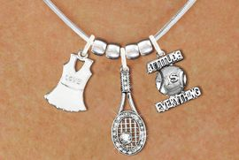 "<BR>             FABULOUS NEW SNAKE CHAIN ADJUSTABLE CHAIN NECKLACE<BR>                 WITH A WHITE OR IVORY TENNIS DRESS CHARM WITH LOVE<BR>             IMPRINTED ON THE DRESS NEXT TO A TENNIS RACQUET WITH AN<BR>             CRYSTAL BALL ATTACHED, NEXT TO A TENNIS BALL IMPRINTED<BR>             WITH A MOTIVATIONAL MESSAGE< ""ADDITUTE IS EVERYTHING<BR>                            AN ORIGINAL ALLAN ROBIN CUSTOM DESIGN<br>                                          WHOLESALE CHARM BRACELET <BR>                                        LEAD, CADMIUM & NICKEL FREE!!  <BR>              W21559N-HIGH POLISHED, BRIGHT ADJUSTABLE SILVER TONE  <BR>                             NECKLACE FROM $12.90 TO $17.30 EACH! &#169;2015"