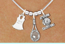 """<BR>             FABULOUS NEW SNAKE CHAIN ADJUSTABLE CHAIN NECKLACE<BR>                 WITH A WHITE OR IVORY TENNIS DRESS CHARM WITH LOVE<BR>             IMPRINTED ON THE DRESS NEXT TO A TENNIS RACQUET WITH AN<BR>             CRYSTAL BALL ATTACHED, NEXT TO A TENNIS BALL IMPRINTED<BR>             WITH A MOTIVATIONAL MESSAGE< """"ADDITUTE IS EVERYTHING<BR>                            AN ORIGINAL ALLAN ROBIN CUSTOM DESIGN<br>                                          WHOLESALE CHARM BRACELET <BR>                                        LEAD, CADMIUM & NICKEL FREE!!  <BR>              W21559N-HIGH POLISHED, BRIGHT ADJUSTABLE SILVER TONE  <BR>                             NECKLACE FROM $12.90 TO $17.30 EACH! &#169;2015"""