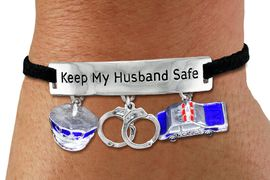 "<BR>      ""KEEP MY HUSBAND SAFE"" ADJUSTABLE BLACK SUEDE BRACELET<BR>                            AN ORIGINAL ALLAN ROBIN CUSTOM DESIGN<br>                                          WHOLESALE CHARM BRACELET <BR>                                        LEAD, CADMIUM & NICKEL FREE!!  <BR>            W21560B-HIGH POLISHED, BRIGHT ADJUSTABLE SILVER TONE  <BR>            BLACK SUEDE BRACELET FROM $5.85 TO $13.00 EACH! &#169;2015"