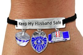 "<BR>      ""KEEP MY HUSBAND SAFE"" ADJUSTABLE BLACK SUEDE BRACELET<BR>                            AN ORIGINAL ALLAN ROBIN CUSTOM DESIGN<br>                                          WHOLESALE CHARM BRACELET <BR>                                        LEAD, CADMIUM & NICKEL FREE!!  <BR>            W21561B-HIGH POLISHED, BRIGHT ADJUSTABLE SILVER TONE  <BR>            BLACK SUEDE BRACELET FROM $6.75 TO $15.00 EACH! &#169;2015"