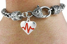 "<BR>                                                                 NICKEL FREE !<BR>                                                         ""THE PERFECT GIFT"",<BR>                               ""Your Love Makes My Heart Beat"","" I Love You"", Or<BR>                      In Recognition Of ""Women's Or Children's Heart Disease""<BR>                           "" HEARTBEAT "" HEART WOVEN CHAIN BRACELET<BR>                               AN ORIGINAL ALLAN ROBIN CUSTOM DESIGN<br>                                          WHOLESALE CHARM BRACELET <BR>                                        LEAD, CADMIUM & NICKEL FREE!!  <BR>                           W21562B-ANTIQUE WOVEN CHAIN SILVER TONE  <BR>                             BRACELET FROM $4.90 TO $5.85 EACH! &#169;2015"
